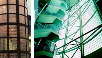 Left image: Inland Revenue Building, Nottingham. Right: Very large glass block wall in London