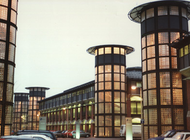 Photo of iconic glass block towers at the Inland Revenue building Nottingham