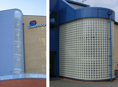 Left: Glass block stair well Travel Lodge Norwich. Right: One of several glass block installations De La Salle College Jersey