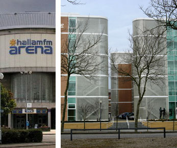 Left: Curved glass block wall Hallam FM Arena Sheffield. Right: Stair enclosures installed at the new E1.4 building Silbury Avenue Milton Keynes