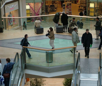 Photo of one of two diamond glass floors at the New Bullring Birmingham