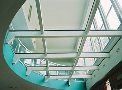 Image showing fire-rated glass floor over the entrance to the department of Chemistry Cambridge University