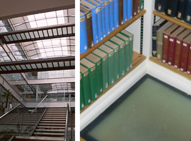 Left: Internal glass stairs and glass bridges Chiswick Park. Right: One of a series of fire-rated glass flooring panels at Peterhouse College Library Cambridge University