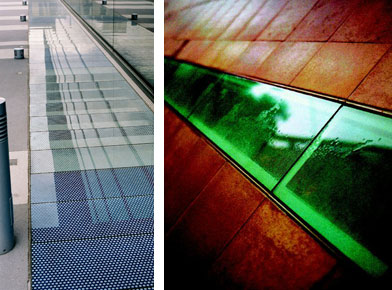 Left: Queen Mary teaching hospital College Close up of different coloured Glass floor panels in innovative new building. Right: External glass floor installation at the Saga HQ Kent