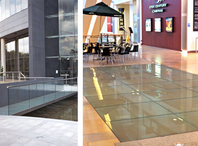 Left: Glass bridge over moat at the pfizer building in Surrey. Right: Glass floor installed to let light into the foyer at the Ocean Terminal Shopping complex Leith Edinburgh.
