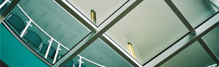 Picture showing glass flooring seen from below